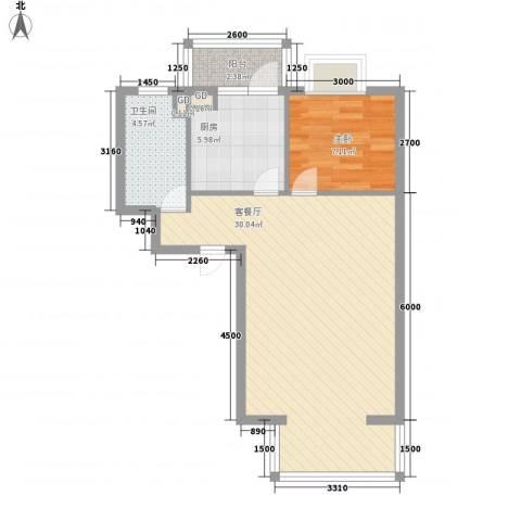 碧桂园温泉小区1室1厅1卫1厨69.00㎡户型图