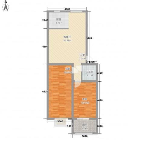 绿茵港湾2室1厅1卫0厨78.00㎡户型图