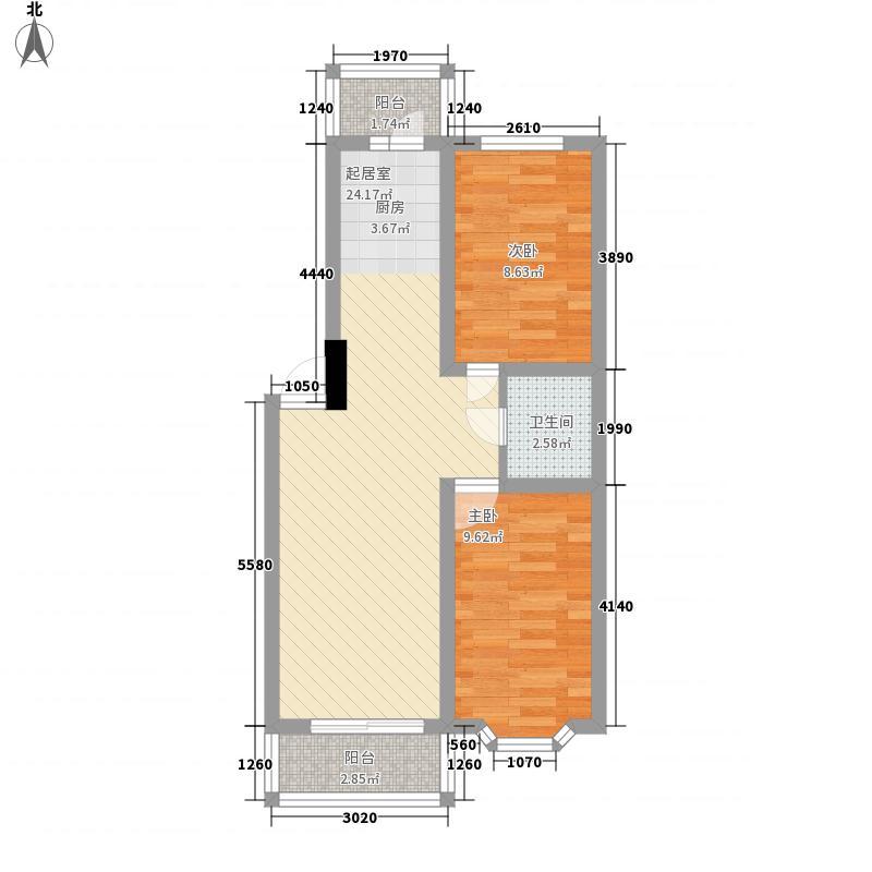 三精家园户型图户型图 2室1厅1卫1厨