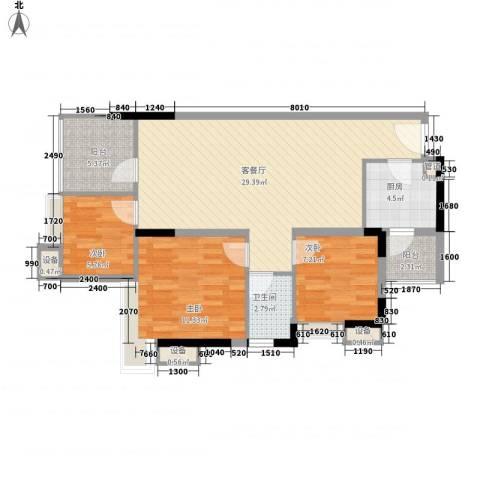 鸿泰八零3室1厅1卫1厨100.00㎡户型图
