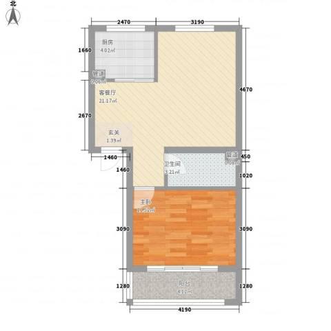 绿茵港湾1室1厅1卫1厨64.00㎡户型图