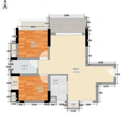 鸿泰八零2室1厅1卫1厨74.00㎡户型图