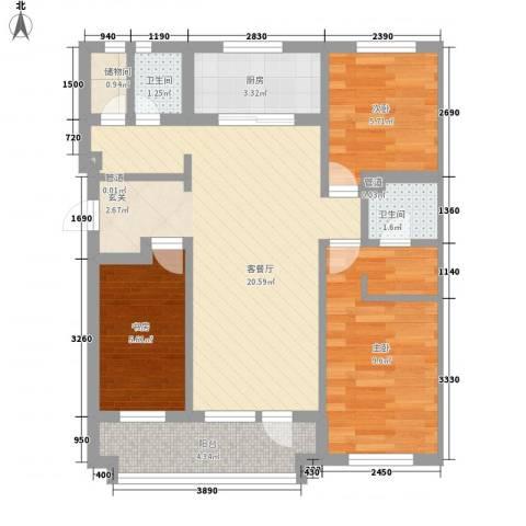 综艺曼哈顿时代3室1厅2卫1厨82.00㎡户型图