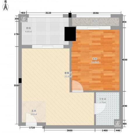 综艺曼哈顿时代1室1厅1卫1厨79.00㎡户型图