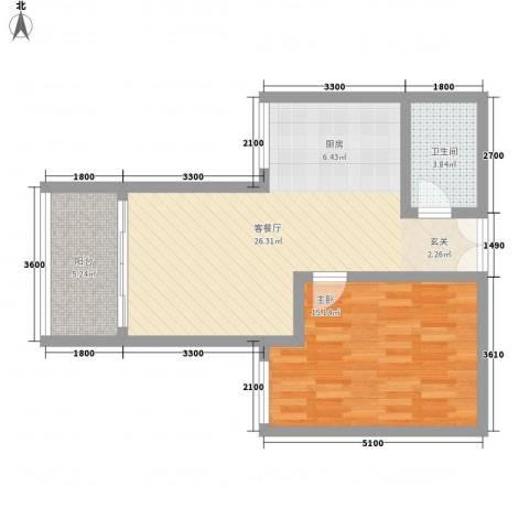 惠麓苑1室1厅1卫0厨51.00㎡户型图