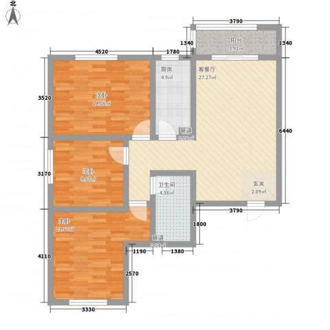 学府苑3室1厅1卫1厨113.00㎡户型图