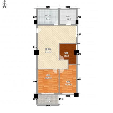 馥邦商务广场3室1厅1卫1厨129.00㎡户型图