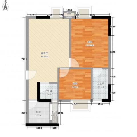 粤顺豪庭2室1厅2卫1厨50.30㎡户型图