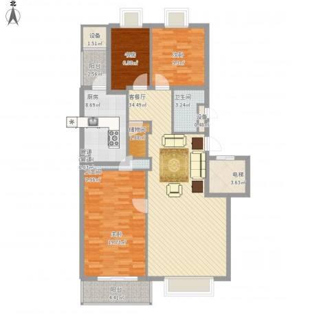 山水文园一期3室1厅2卫1厨139.00㎡户型图