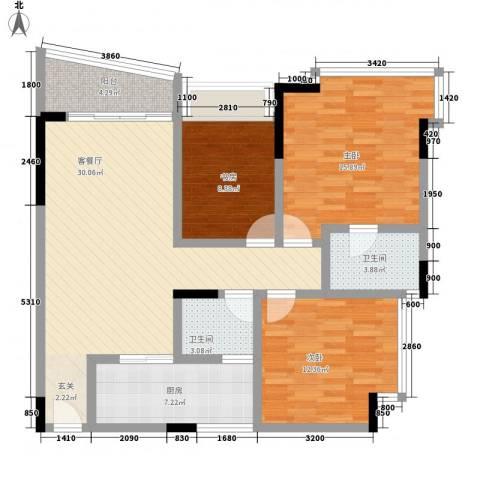 蔚蓝星湖二期3室1厅2卫1厨111.00㎡户型图