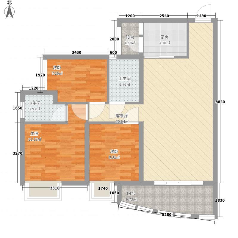 华润・御苑111.00㎡C-02户型3室2厅2卫1厨