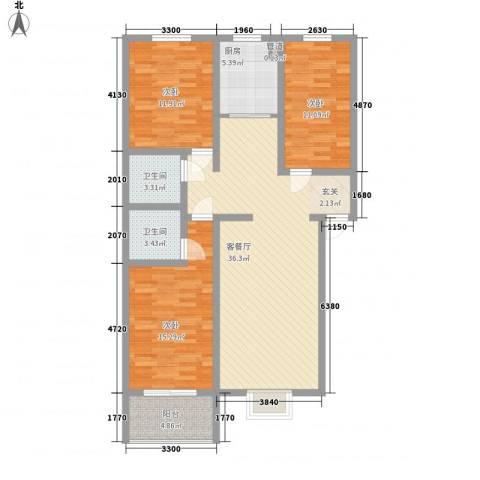 绿茵港湾3室1厅2卫1厨91.70㎡户型图