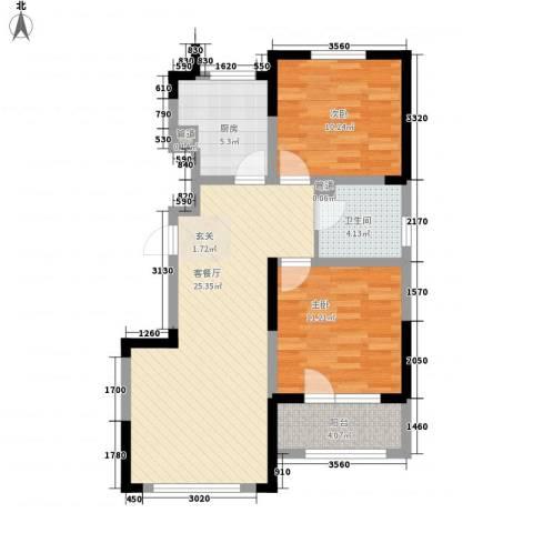 绿地卢浮公馆2室1厅1卫1厨88.00㎡户型图