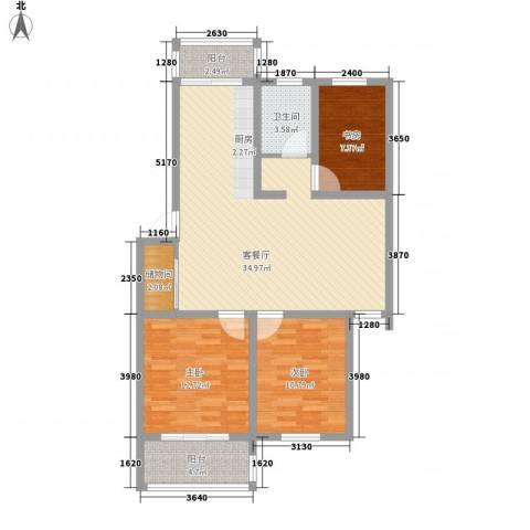 中江国际花苑3室1厅1卫0厨114.00㎡户型图