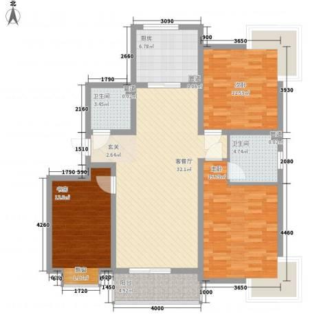 城南都市嘉园二期3室1厅2卫1厨126.00㎡户型图