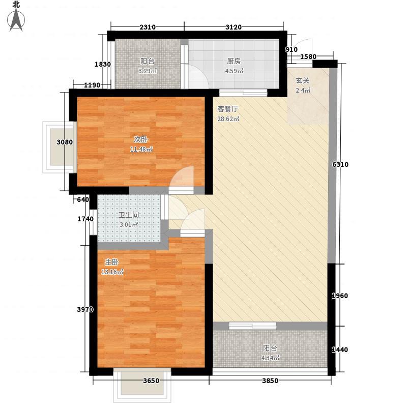 金岛汽修F户型:两房两厅一卫,98.73平米_调整大小户型2室2厅1卫1厨