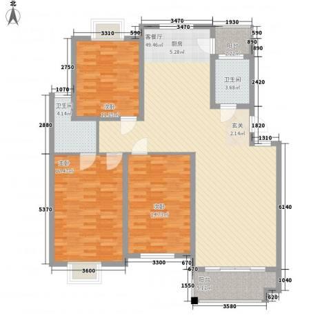良友新苑3室1厅2卫0厨152.00㎡户型图