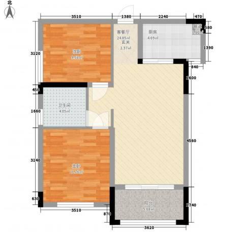 伟业迎春乐家2室1厅1卫1厨69.00㎡户型图