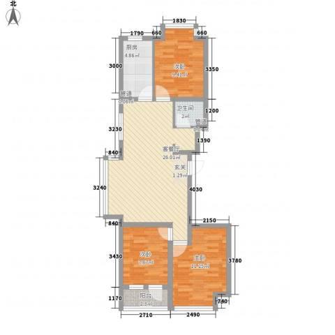 荣盛幸福大道3室1厅1卫1厨63.80㎡户型图