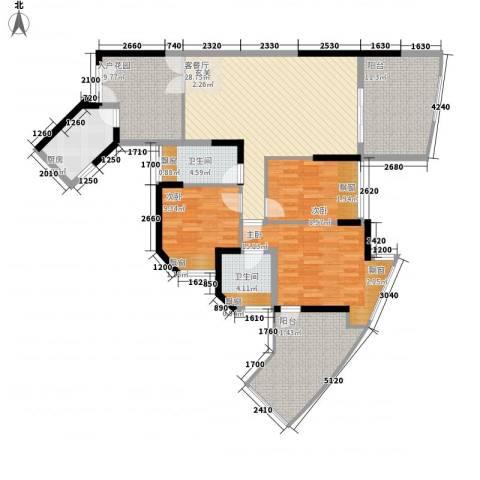 劲力城市明珠二期3室1厅2卫1厨153.00㎡户型图