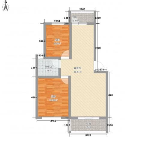 中江国际花苑2室1厅1卫0厨91.00㎡户型图