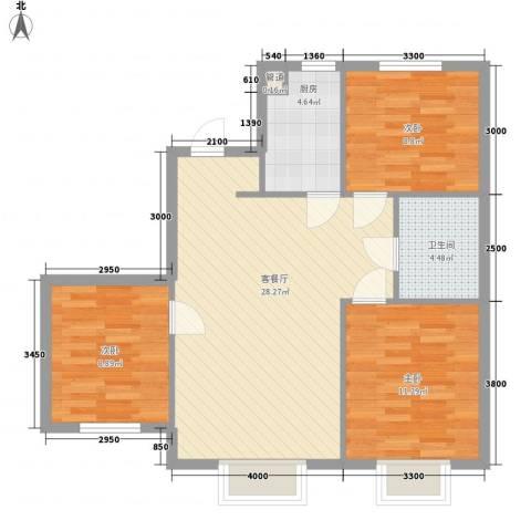 沈阳月星国际城3室1厅1卫1厨92.00㎡户型图