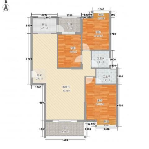龙泉华庭3室1厅2卫1厨139.00㎡户型图