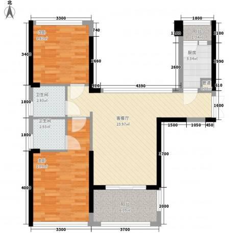 联佳大厦2室1厅2卫1厨64.55㎡户型图