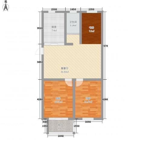 中江国际花苑2室1厅1卫1厨100.00㎡户型图