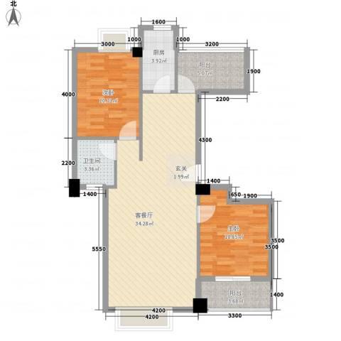 龙泉华庭2室1厅1卫1厨101.00㎡户型图