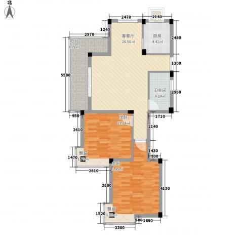 鑫达・风和日丽2室1厅1卫1厨105.00㎡户型图