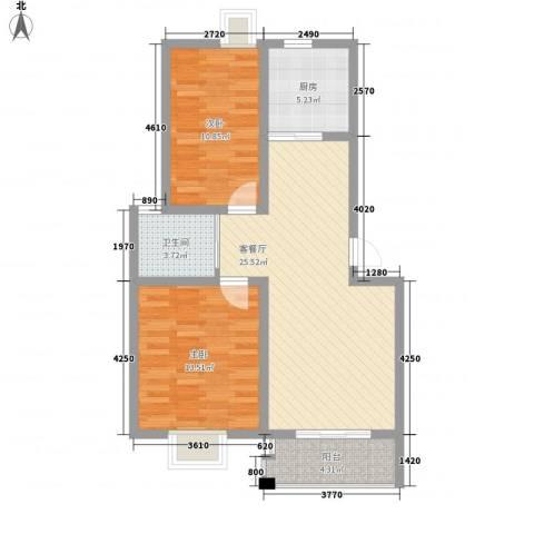 南城亲水佳苑2室1厅1卫1厨91.00㎡户型图
