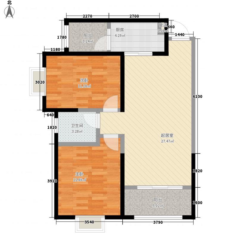 F户型:两房两厅一卫,98.73平米_调整大小