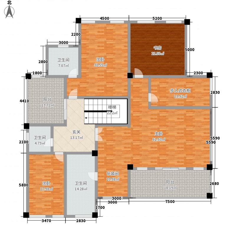 东峰广场513.33㎡F、G、H#二层户型4室2厅3卫