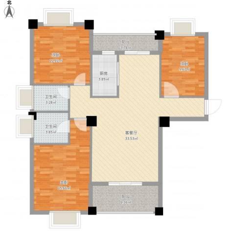 山水清华3室1厅2卫1厨130.00㎡户型图