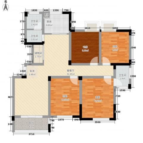 水映盛唐4室1厅3卫1厨136.00㎡户型图