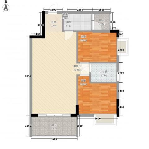 翠华花园二期2室1厅1卫1厨85.00㎡户型图