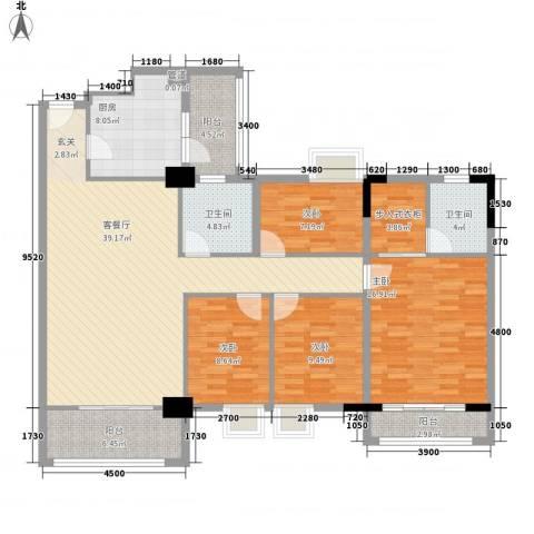 逸湖半岛4室1厅2卫1厨116.17㎡户型图