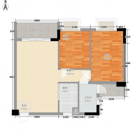 翠华花园二期2室1厅1卫1厨69.67㎡户型图