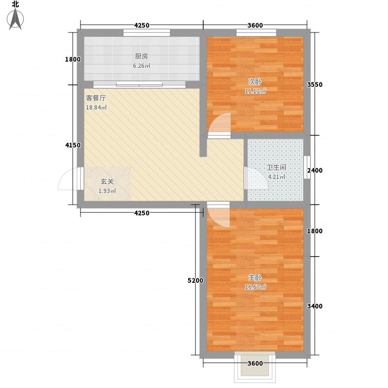 百居茗苑76.21㎡百居茗苑户型图E户型2室1厅1卫1厨户型2室1厅1卫1厨