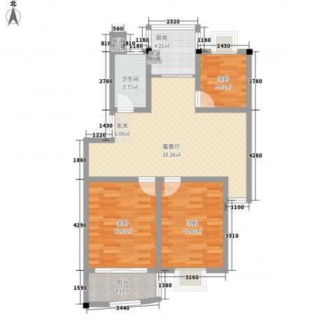 水映盛唐3室1厅1卫1厨99.00㎡户型图