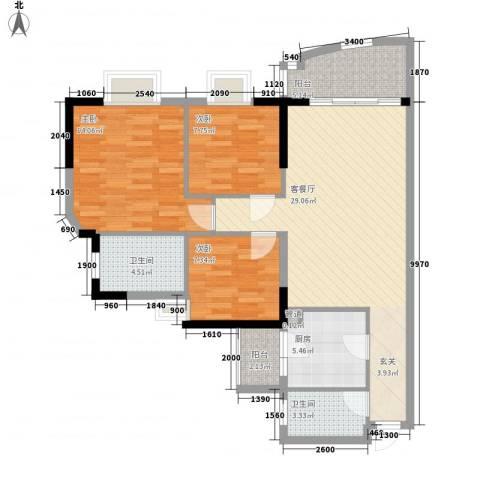 翠城花园二期3室1厅2卫1厨89.75㎡户型图