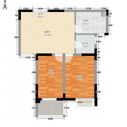 水映盛唐2室1厅1卫1厨87.00㎡户型图