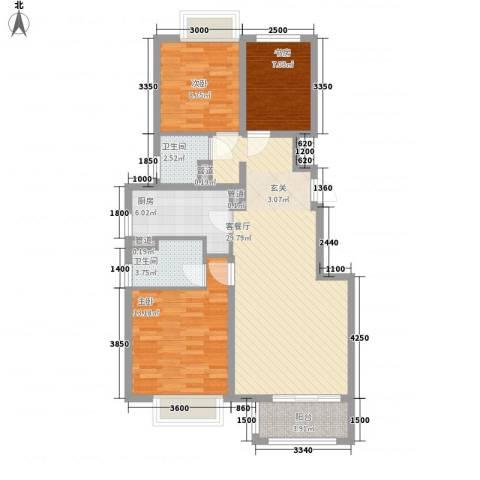 香醍溪岸3室1厅2卫1厨102.00㎡户型图