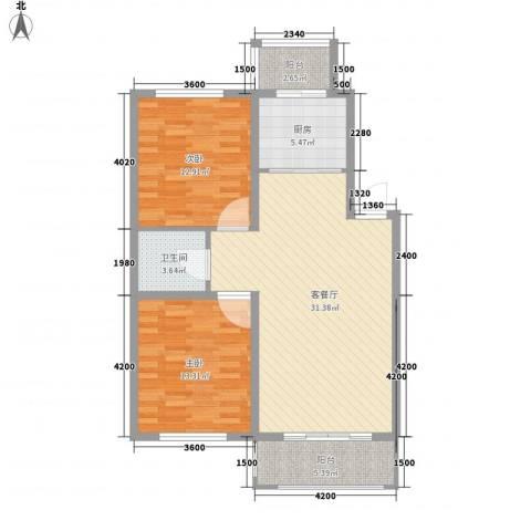 力旺康景2室1厅1卫1厨98.00㎡户型图