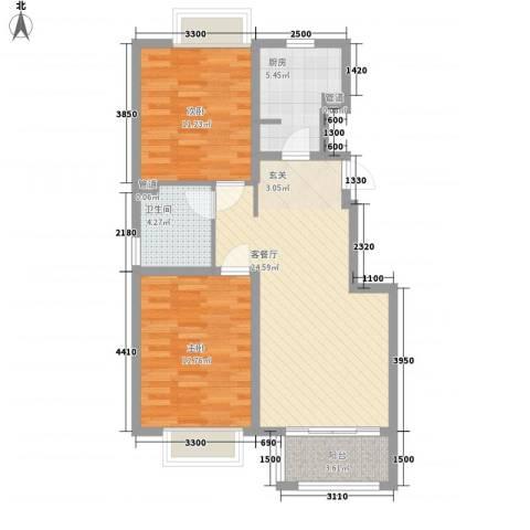 香醍溪岸2室1厅1卫1厨88.00㎡户型图