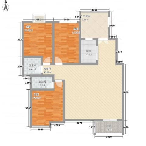 国色天香3室1厅2卫1厨99.77㎡户型图