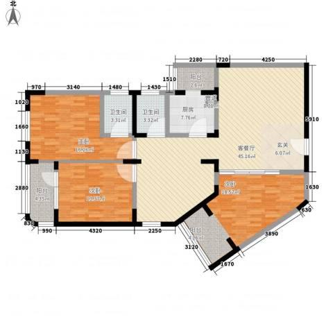 华脉新村3室1厅2卫1厨162.00㎡户型图
