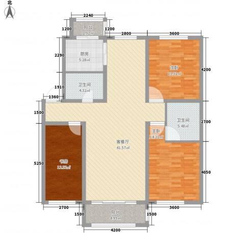 力旺康景3室1厅2卫1厨135.00㎡户型图