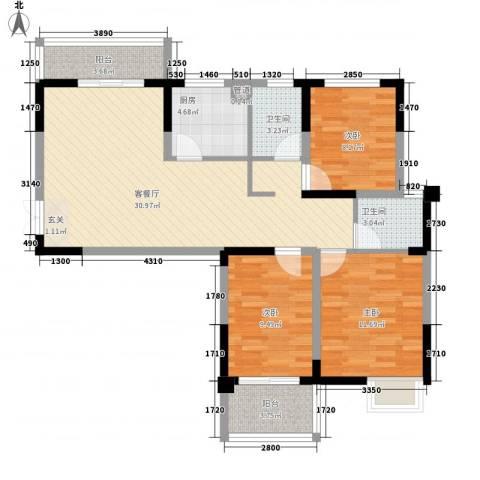 水映盛唐3室1厅2卫1厨114.00㎡户型图